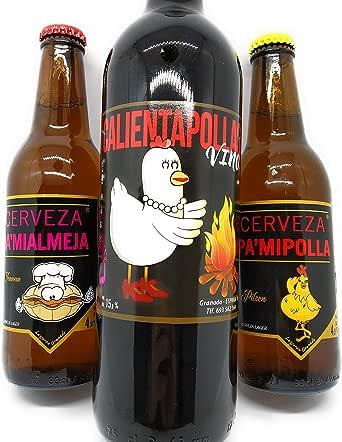 Lote regalo Vino CALIENTAPOLLAS 0,75L y Cervezas PAMIPOLLA y ...