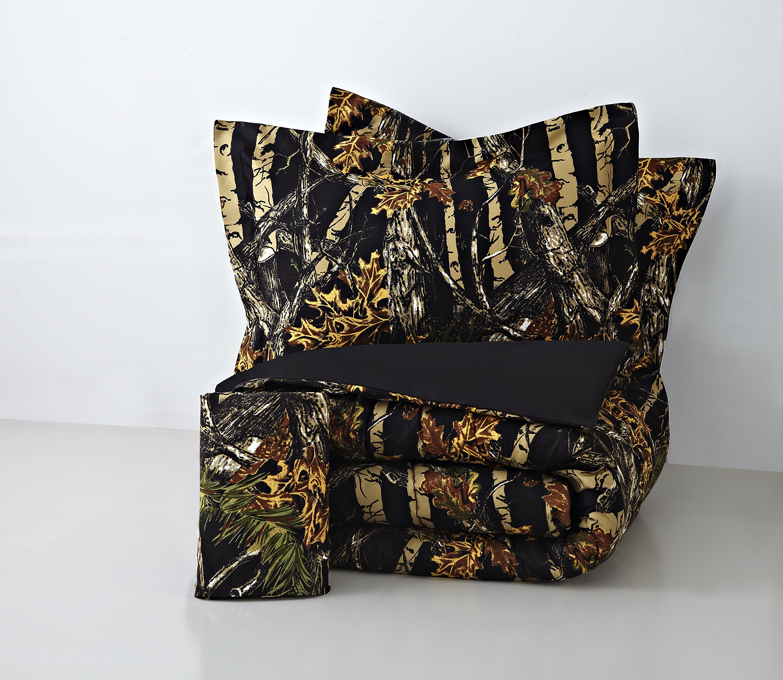 Regal Comfort The Woods Black Camouflage Queen 4 Piece Premium Luxury Comforter, Bed Skirt, and 2 Pillow Shams Set - Camo Bedding Set For Hunters Cabin or Rustic Lodge Teens Boys and Girls