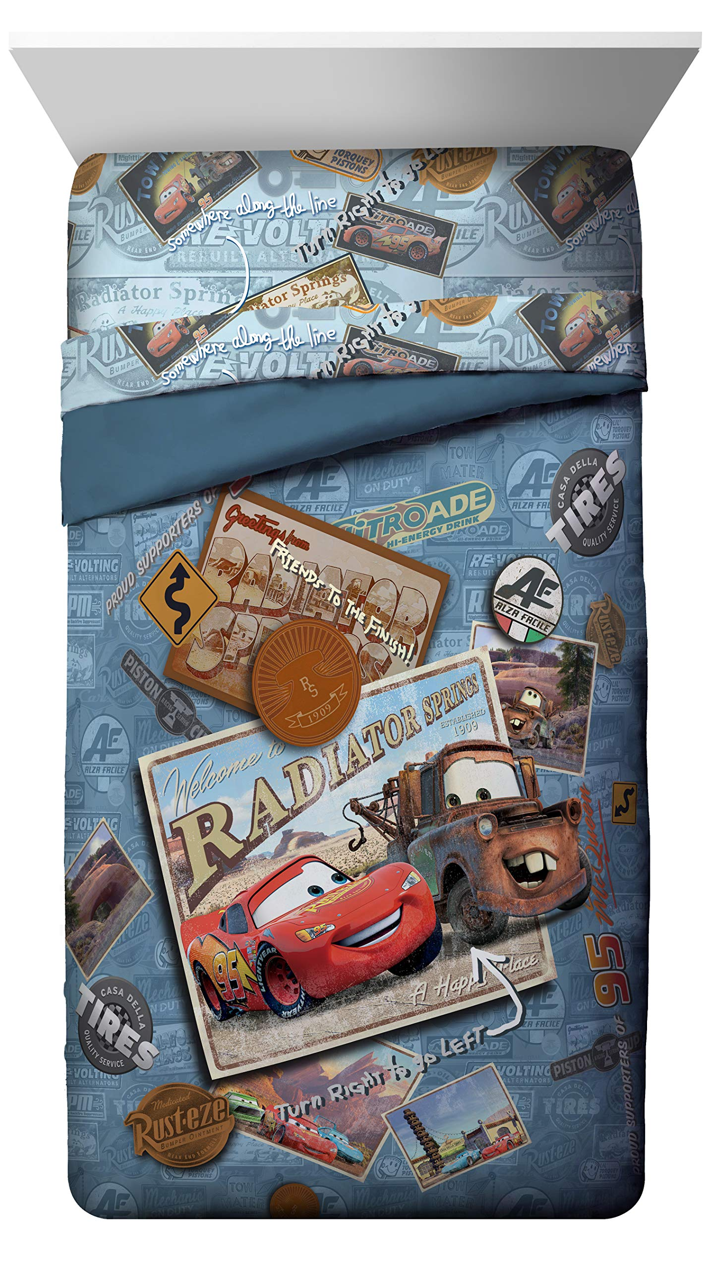Disney Pixar Cars  Tune Up Twin/Full Comforter - Super Soft Kids Reversible Bedding features Lightning McQueen and Mater - Fade Resistant Polyester Microfiber Fill (Official Disney Pixar Product) by Jay Franco