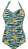 Cocoship Women's 50s Retro Floral Swimsuit Ruching One Piece Vintage Swimwear Pin Up Monokinis(FBA)