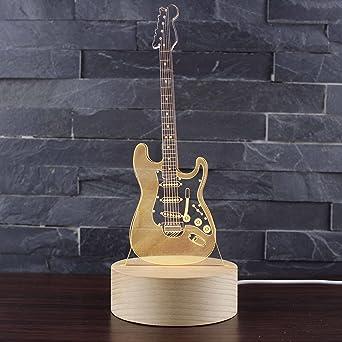 Tsqqst Guitarra Eléctrica De La Energía Del Viento Nórdico Lámpara De Noche Estéreo 3D Usb Enchufe