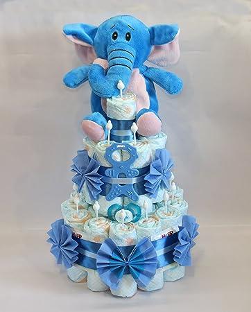 windeltorte kleine windeltorte mit elefant beissmannchen blau amazon de baby