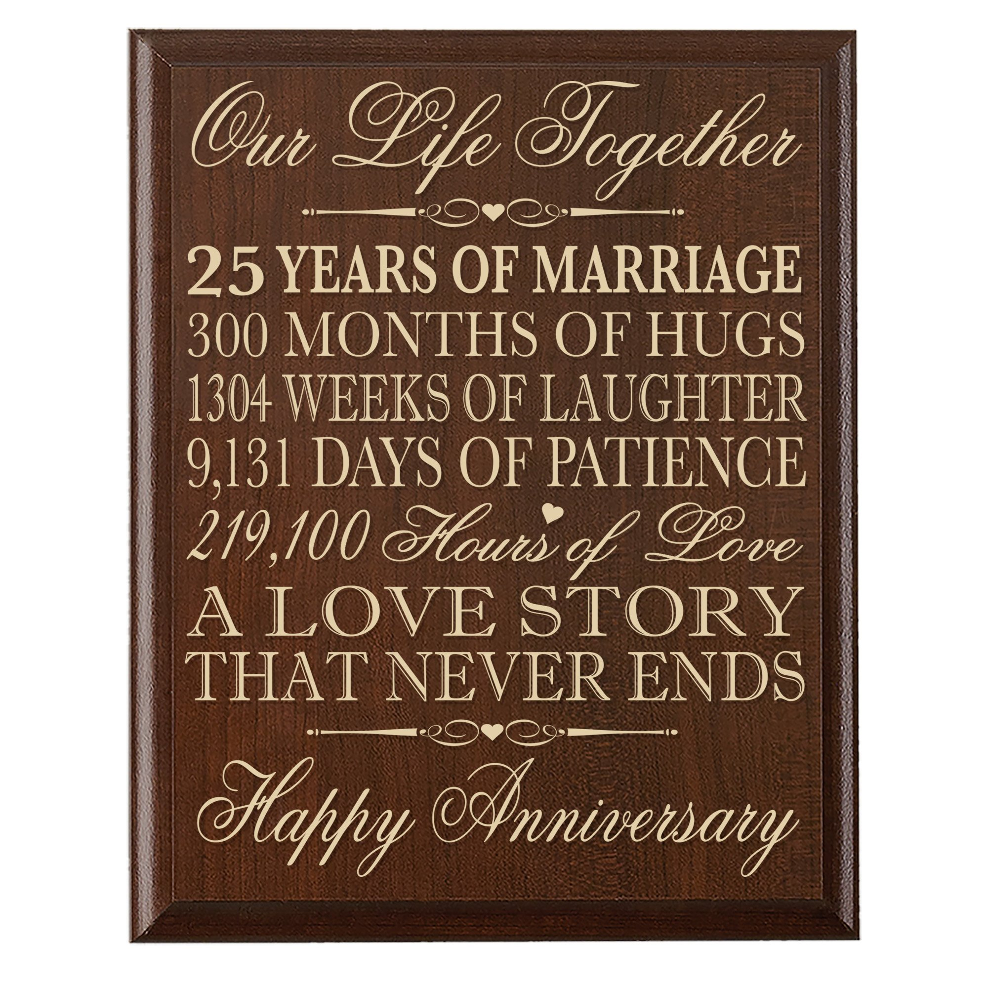 """LifeSong Milestones 25th Wedding Anniversary Wall Plaque Gifts for Couple, 25th for Her,25th Wedding for Him 12"""" W X 15"""" H Wall Plaque"""
