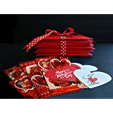 mini hearts roses valentines greeting cards with red envelopes 24 cards in