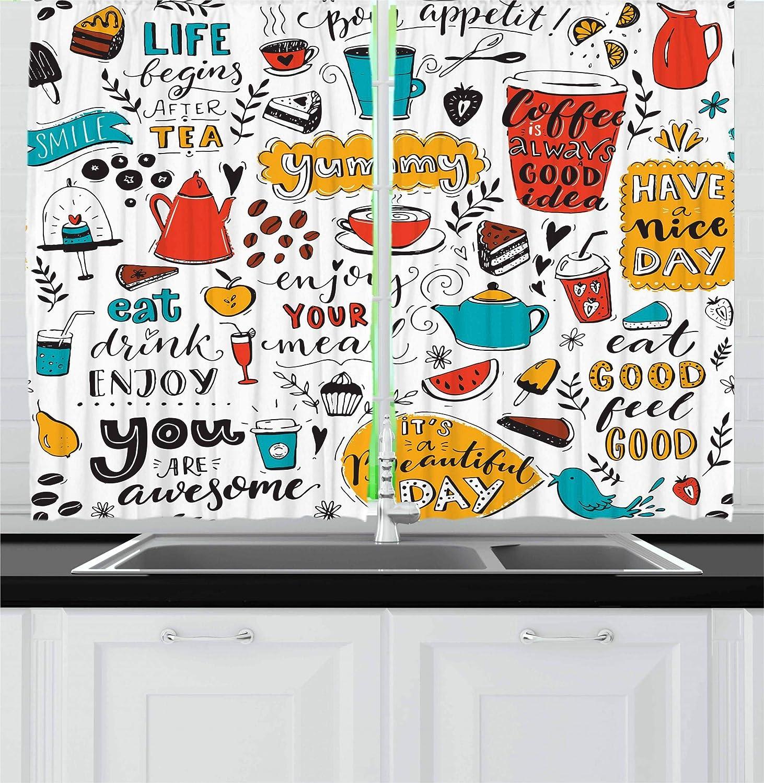 Lunarable Saying Kitchen Curtains, Doodle Food Themed Letterings Bon Appetit Yummy Enjoy Your Meal Eat Drink Enjoy, Window Drapes 2 Panel Set for Kitchen Cafe Decor, 55
