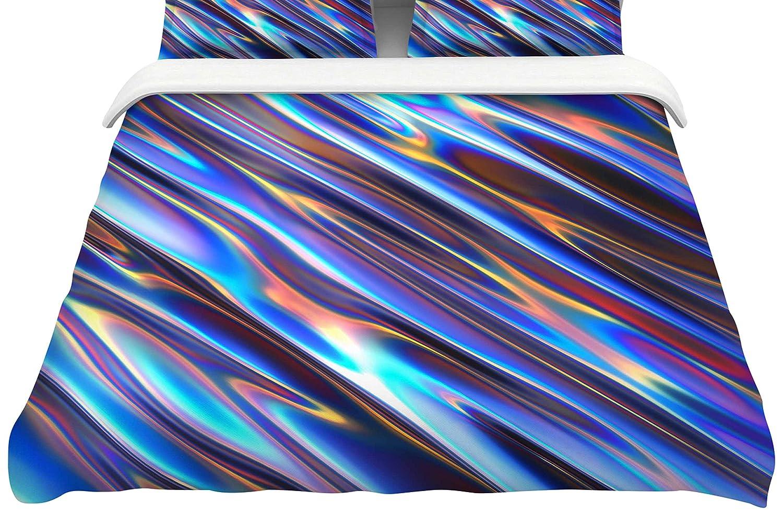68 X 88 KESS InHouse Danny Ivan Iridescent Blue Multicolor Illustration Twin Comforter