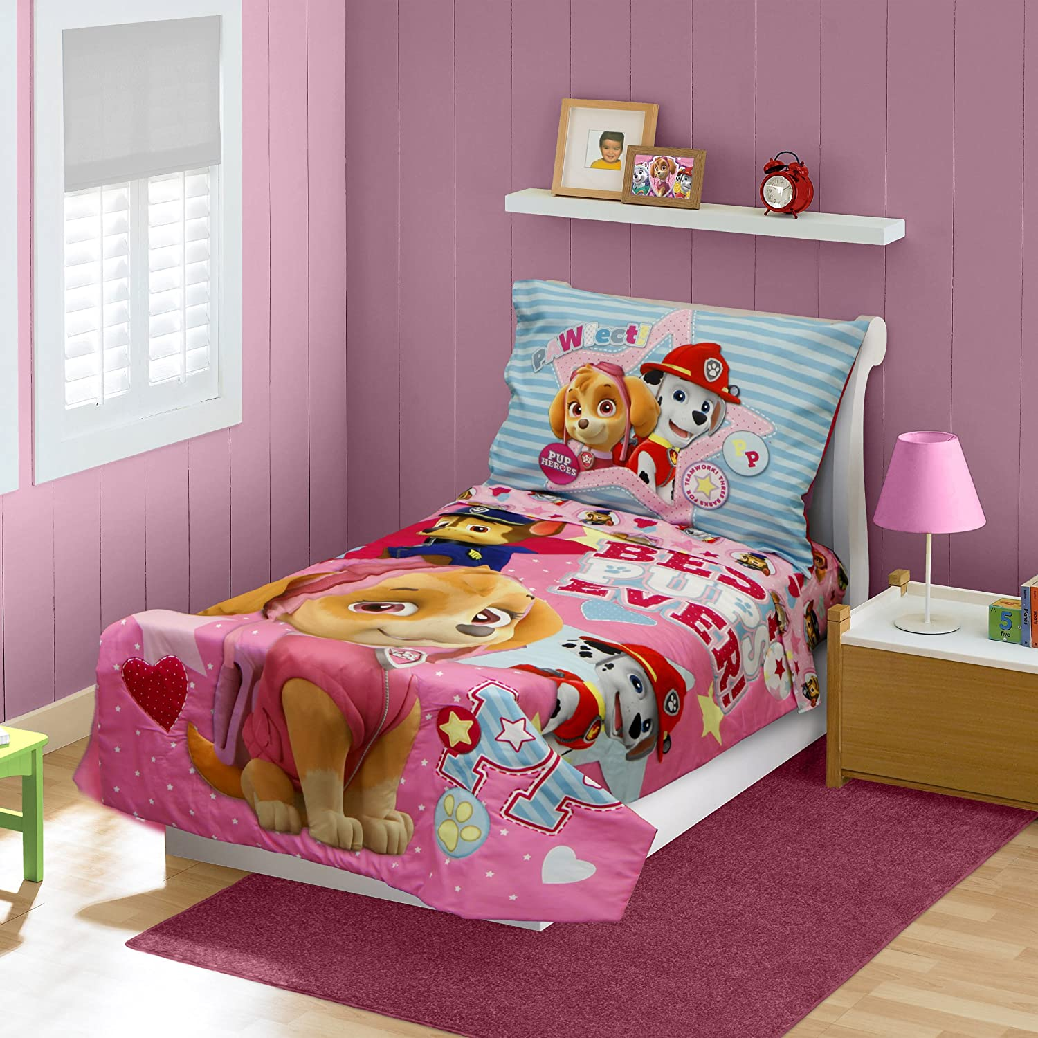 Paw Patrol Skye Best Pups Ever 4 Piece Toddler Bed Set, Pink