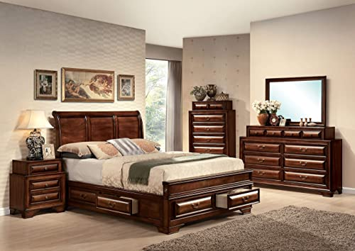 ACME 20444EK Konane Bed, Brown Cherry Finish, Eastern King