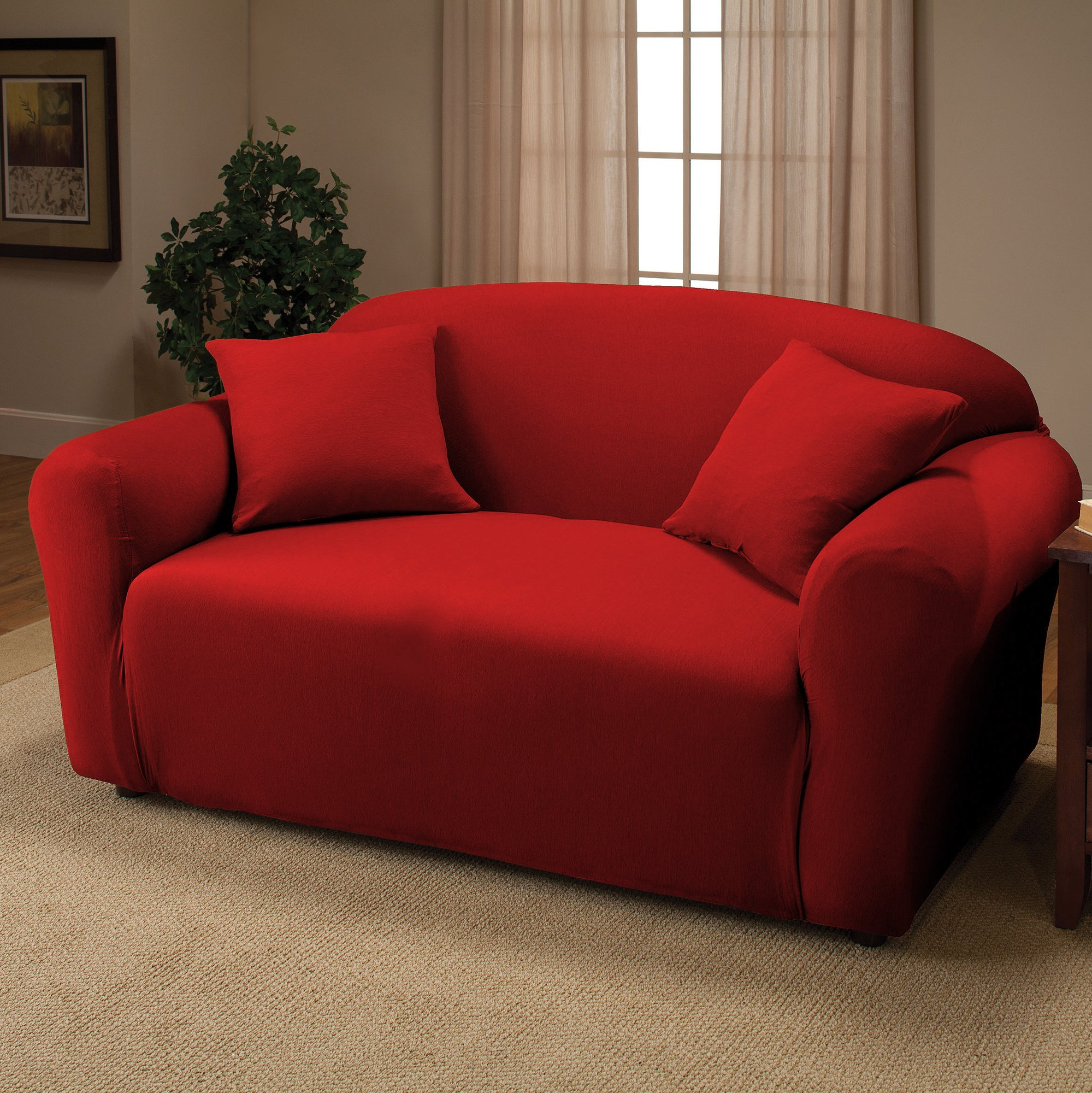 Jersey Stretch Furniture Slipcovers (Red, Loveseat)