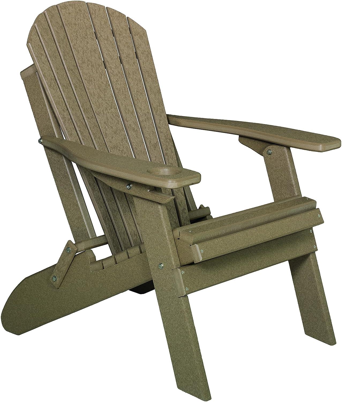 Furniture Barn USA Premium Folding Adirondack Chair w Cup Holder – Poly Lumber – Weatherwood