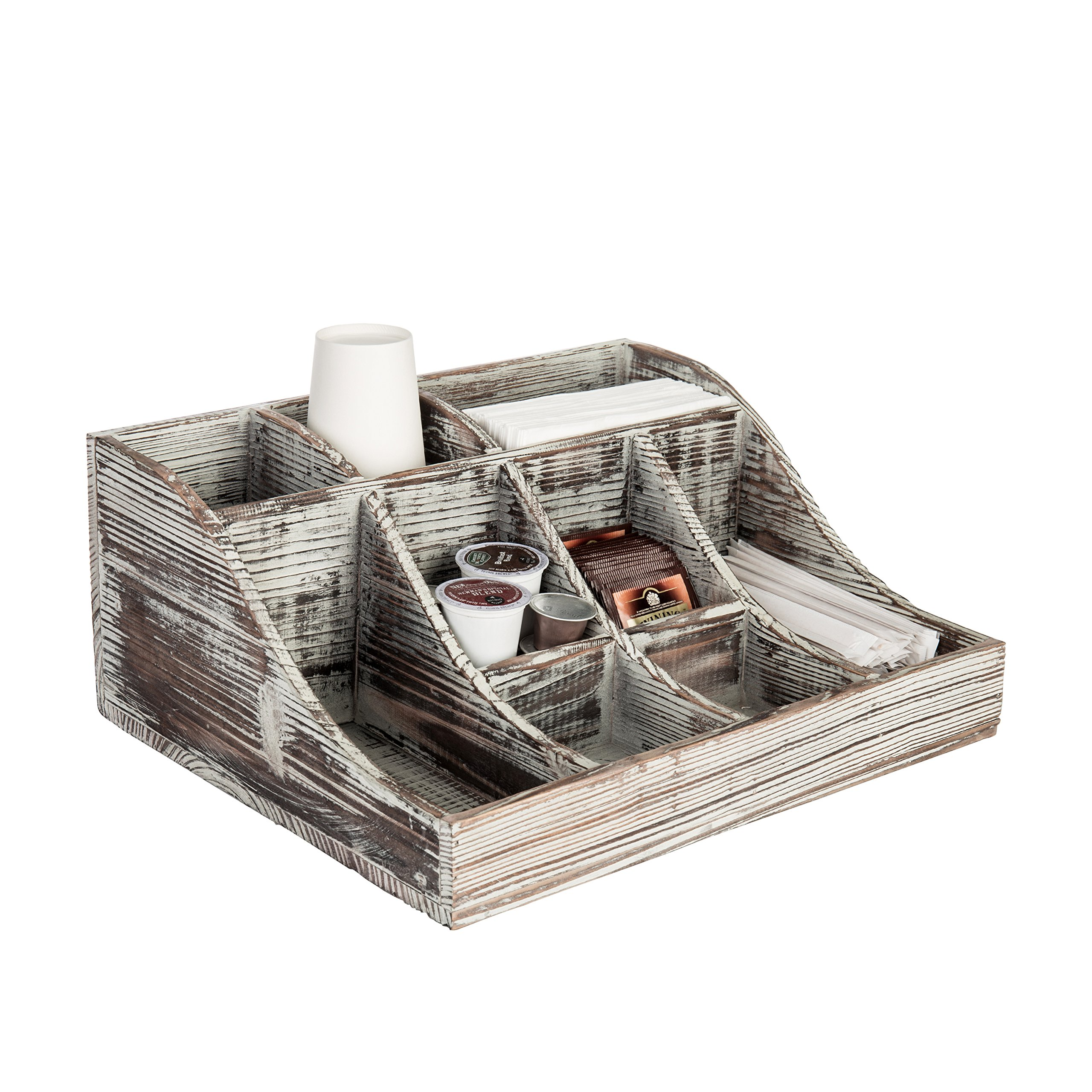 9-Compartment Rustic Torched Wood Tabletop Condiment Holder, Coffee & Tea Storage Caddy