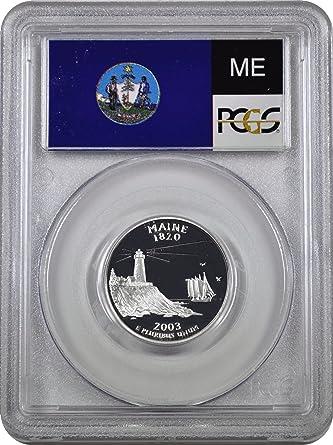 2003-S 25c Maine SILVER State Flag Label Quarter Proof Coin PCGS PR70DCAM
