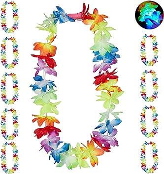 Relaxdays Pack 10 Collares Flores Hawaianas LED para Decoración Fiesta, Cumpleaños y Carnaval, Poliéster, Multicolor, 50 x 15 x 5 cm (10024365): Amazon.es: Juguetes y juegos