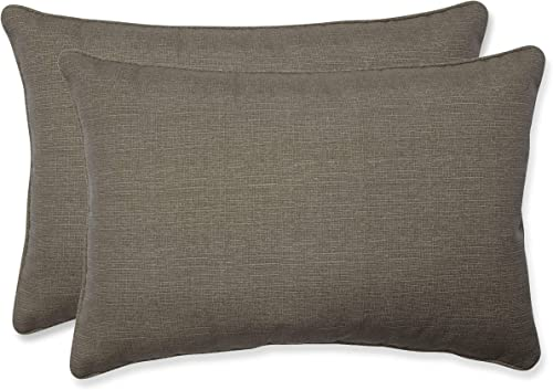 Pillow Perfect Decorative Taupe Textured Solid Rectangle Toss Pillow, 2-Pack,24-1 2-Inch L by 16-1 2-Inch W by 5-Inch D