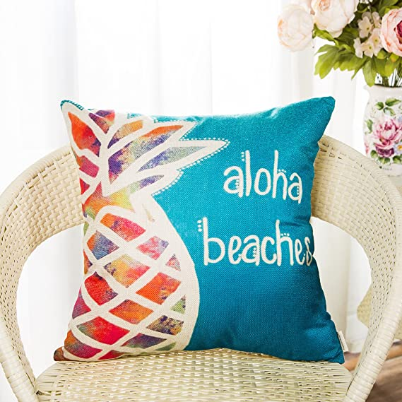 Amazon.com: Fahrendom Aloha Beaches - Funda de cojín con ...