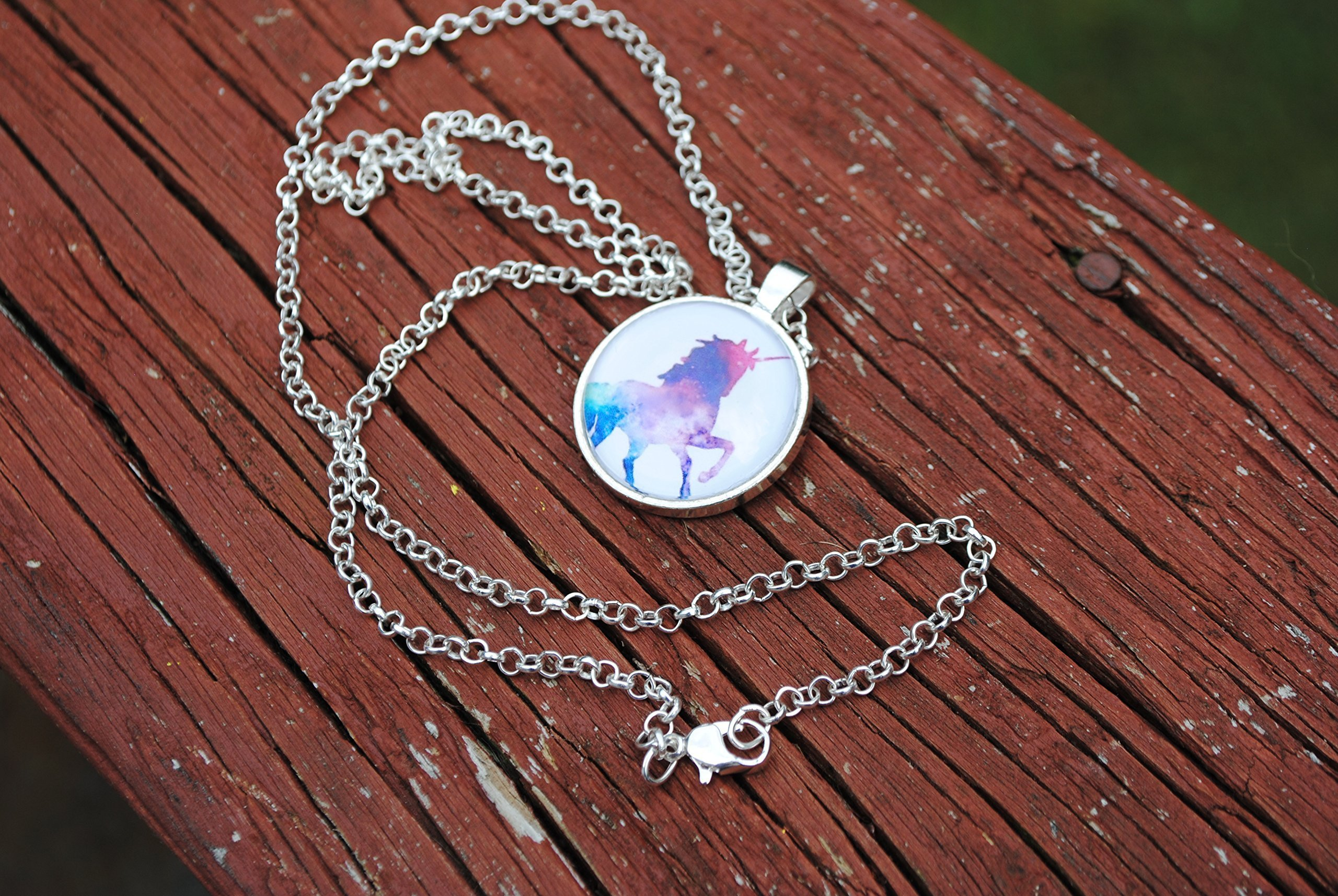 Magical Rainbow Unicorn Glass Dome Circle Pendant Necklace 24 Inch Chain Jewelry 5