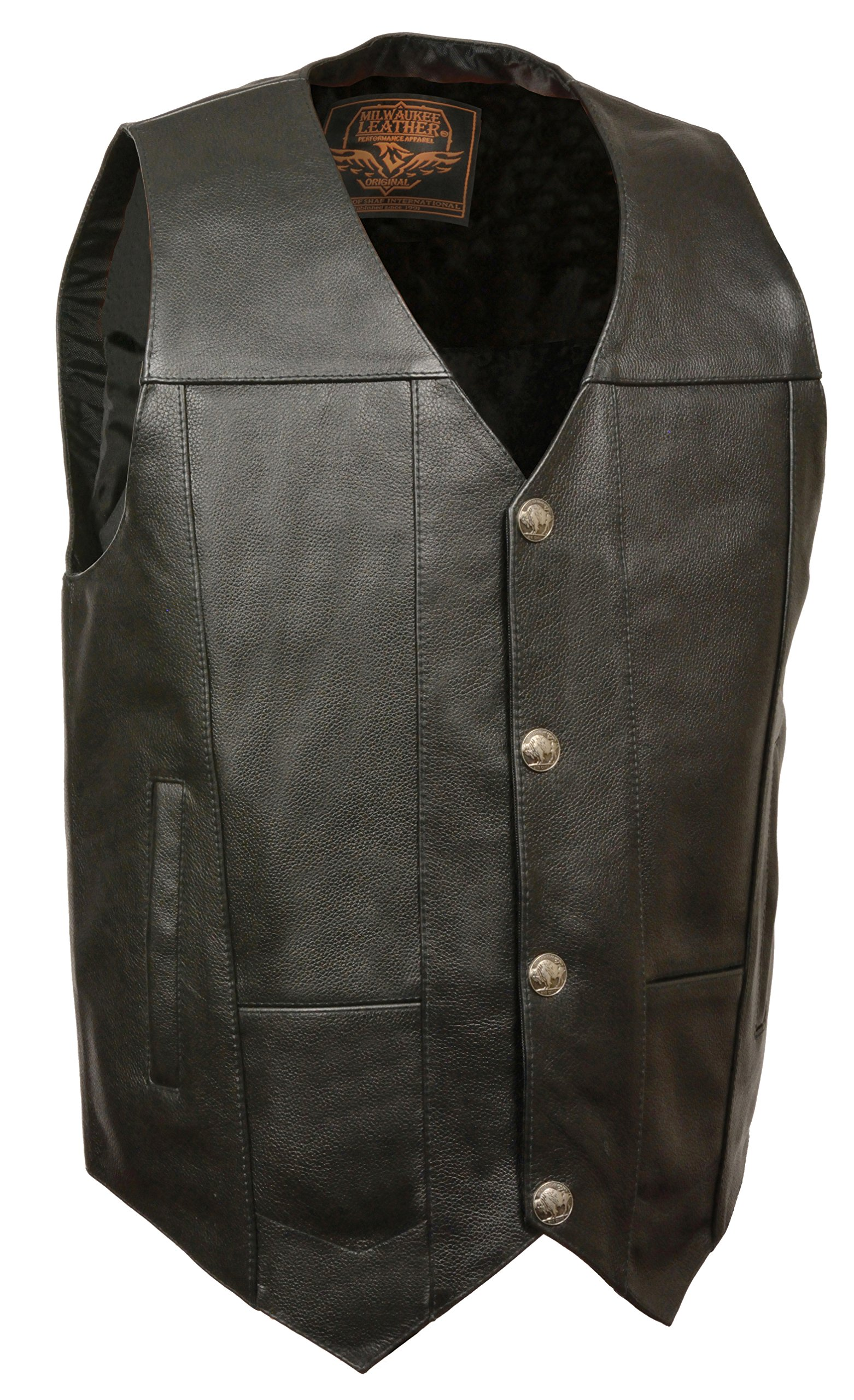 Milwaukee Men's Plain Side Vest with Buffalo Snaps (Black, 8X-Large) by Milwaukee
