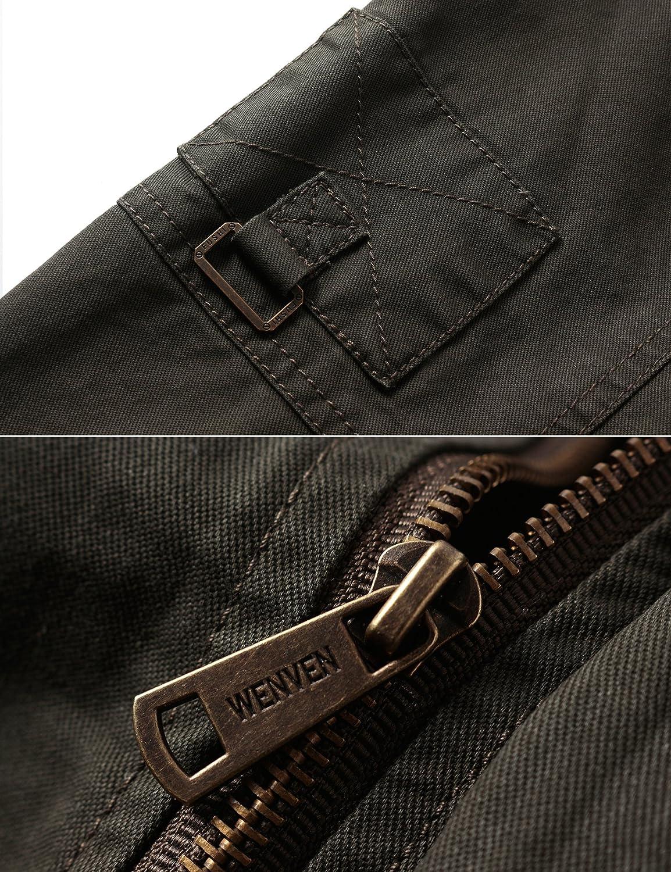 WenVen Giacca in Cotone Colletto Militare Multi Tasche Uomo