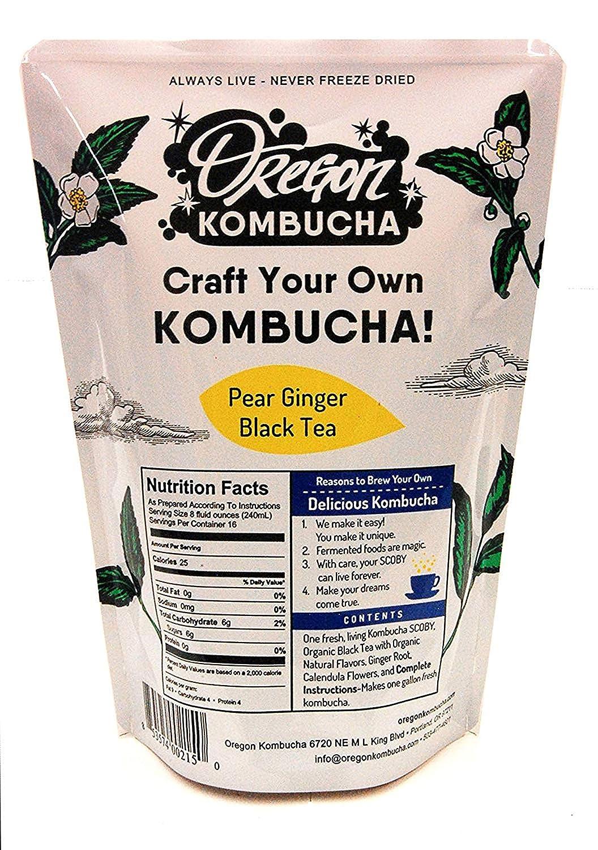 Kombucha Starter Kit by Oregon Kombucha | Organic Pear Ginger Black Tea and Scoby w/ Starter Liquid - Raw Culture Brews 1 Gallon of Delicious Kombucha, Guaranteed
