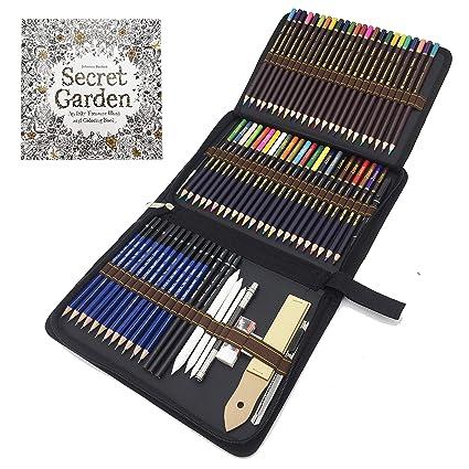 Lapices De Dibujo Profesionales 72 Piezas Set Lápices De Colores Y Lápices De Madera Carbón Grafito Sticks Herramientas De Dibujo Conjunto Ideal