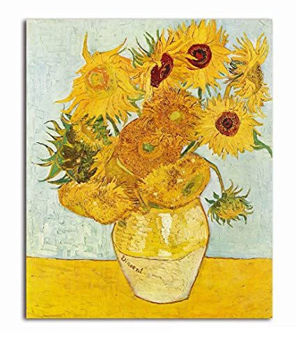 Tamatina Canvas Paintings Vase With Fifteen Sunflowers Vincent