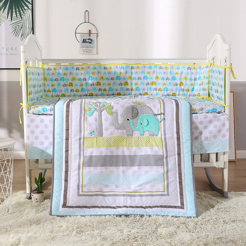 Wowelife Blue Elephant Crib Set Nursery Crib Bumper Bedding Baby Bedding Set for Girl Boy(Light Blue-7 Piece)