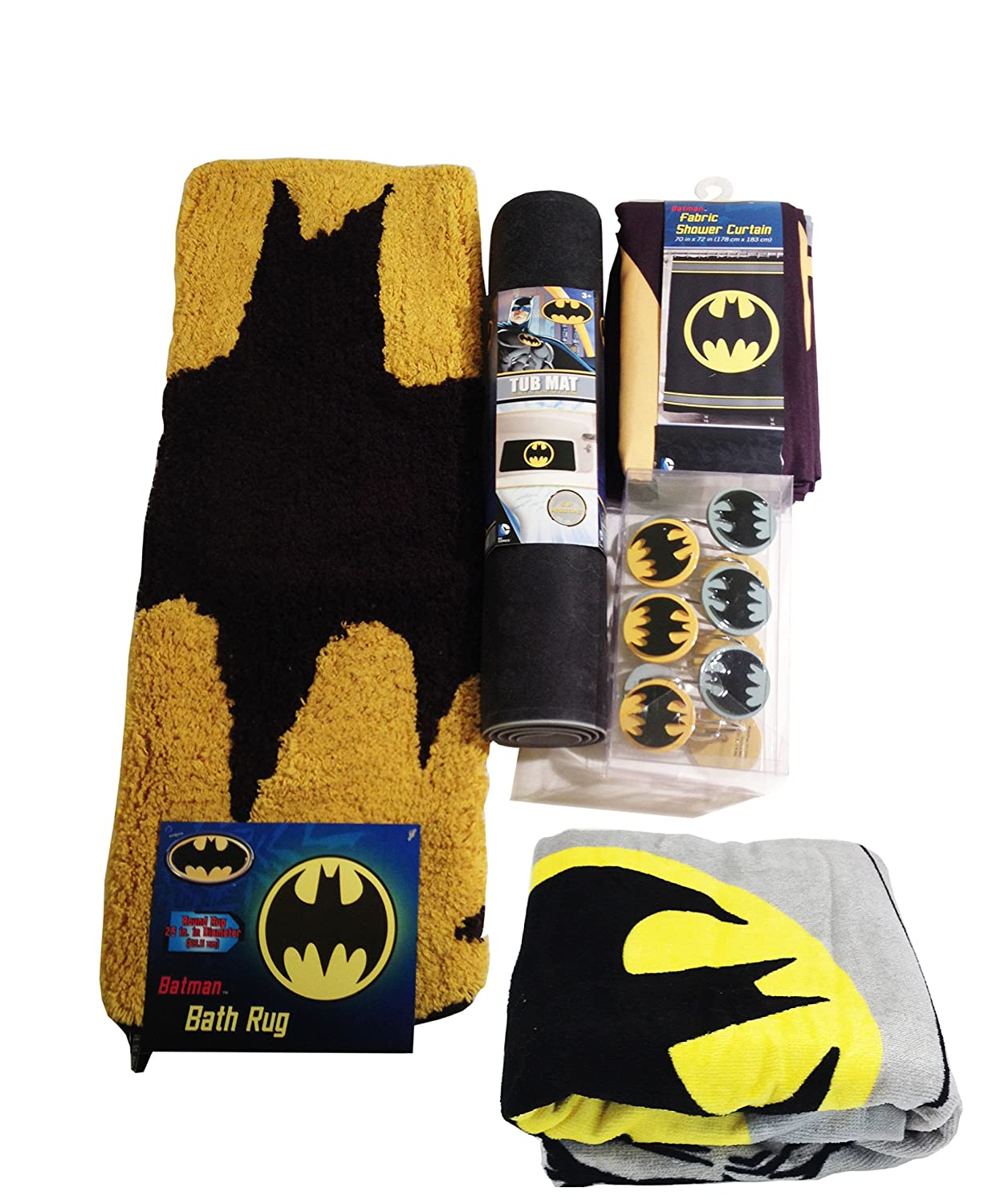 Batman Bathroom Set, Shower Curtain, Hooks, Bath Rug, Bath Towel, and Bath Tub Mat 5844430