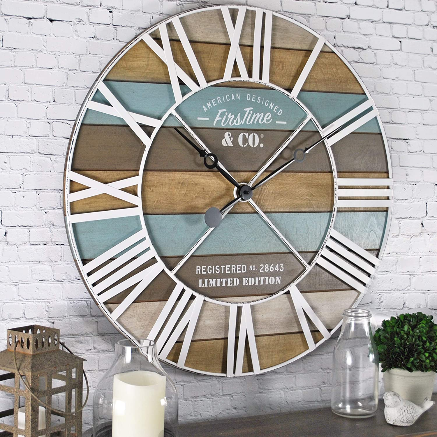 "FirsTime & Co. Maritime Planks Wall Clock, 24"", Multicolor"