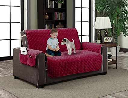 Home Dynamix Slipcovers: All Season Quilted Microfiber Pet Furniture Couch  Protector Cover   Red,