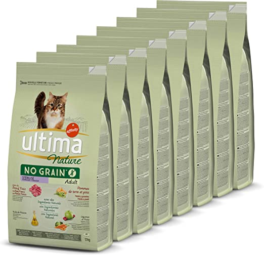 Ultima Nature No Grain Pienso para Gatos Esterilizados sin Cereales con Buey, Pack de 8 x 1.1Kg - Total: 8.8kg: Amazon.es: Productos para mascotas