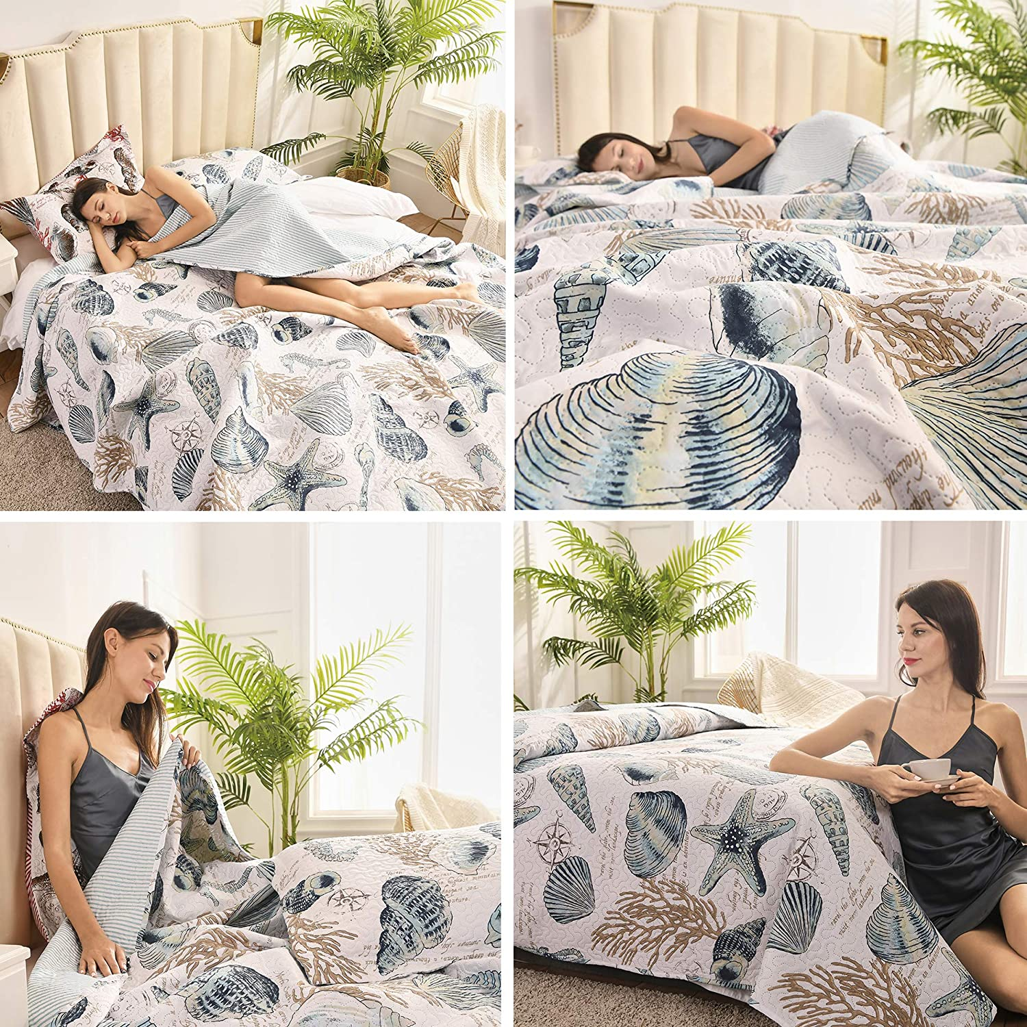 3 Pieces Beach Shell Bedspread Queen Size Ocean Theme Seashell Conch Summer Quilt Lightweight Thin Reversible Conch Shell Hippocampus Starfish Coral Printed Coverlet Set Coastal Bedding-Blue White