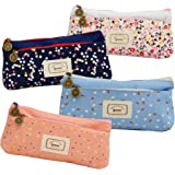Set of 4, Ipow Flower Floral Canvas Cosmetic Pen Pencil Stationery Pouch Bag Case(Pastorabl)