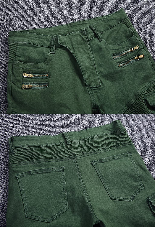 Sarriben Mens Stretch Slim Fit Wrinkled Biker Jeans Zipped Pants With Cargo Pocket