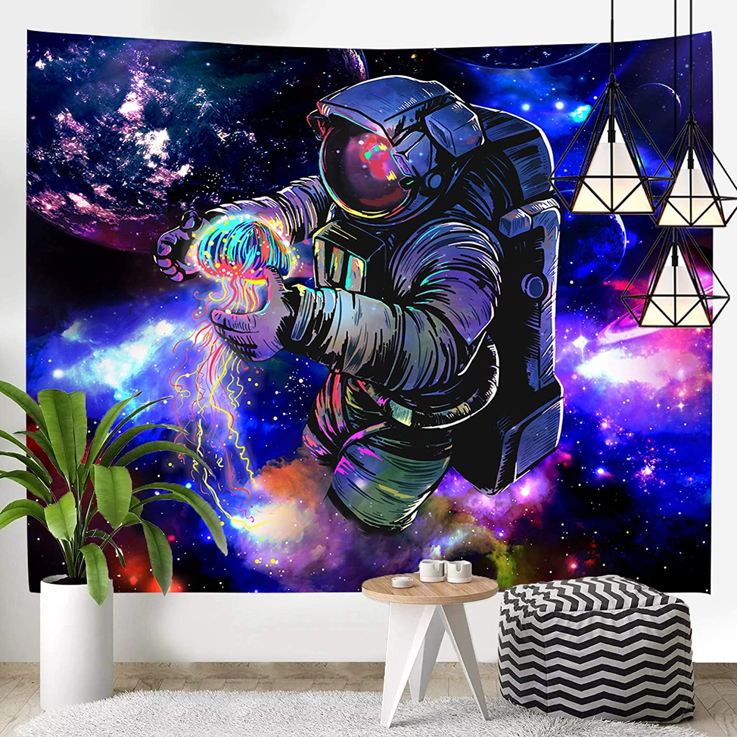 Hexagram Astronaut Tapestry, Trippy Outer Space Planets Tapestry Wall Hanging, Psychedelic Jellyfish Blacklight Poster, Fantasy Galaxy Wall Tapestry for Bedroom College Dorm Room Decor, 51x59 Inches