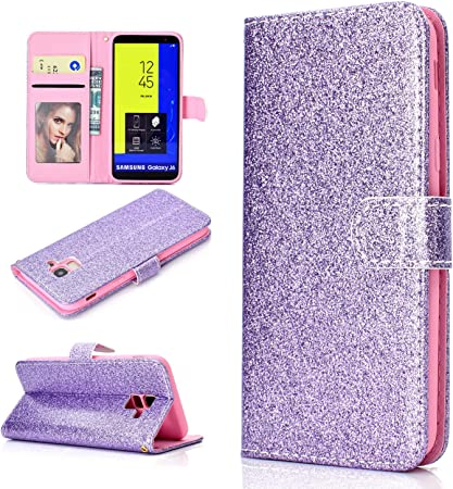 Herbests Compatible with Samsung Galaxy J4 2018 Wallet Case Glitter Diamond Bling Rhinestone Leather Cover Flip Cases 3D Flower Butterfly Embossed Cute Slim Shockproof Phone Cover Stand,Rose Gold