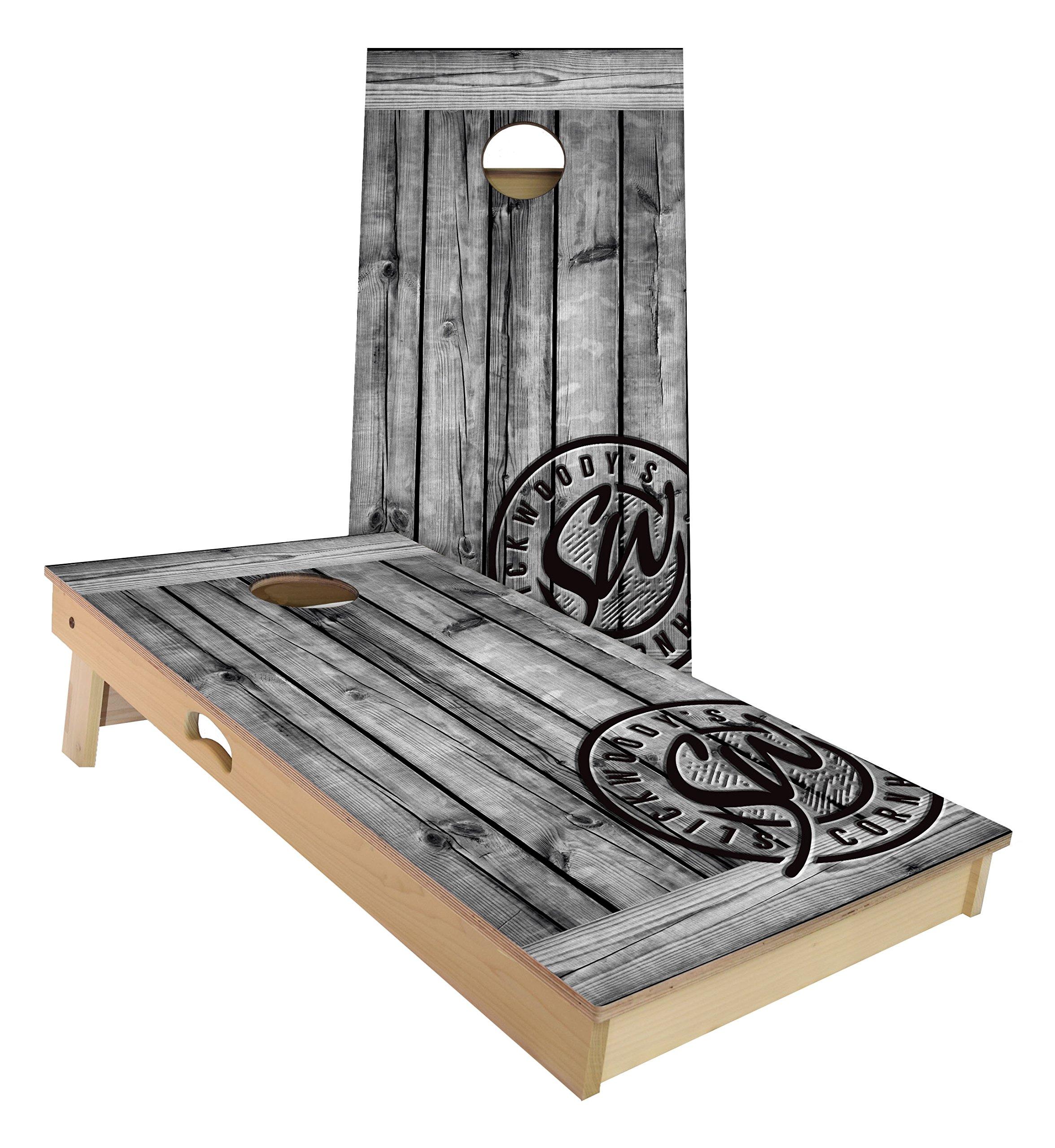 Rustic Grey Barnwood Cornhole Set 4 by 2 feet | Slick Woody's