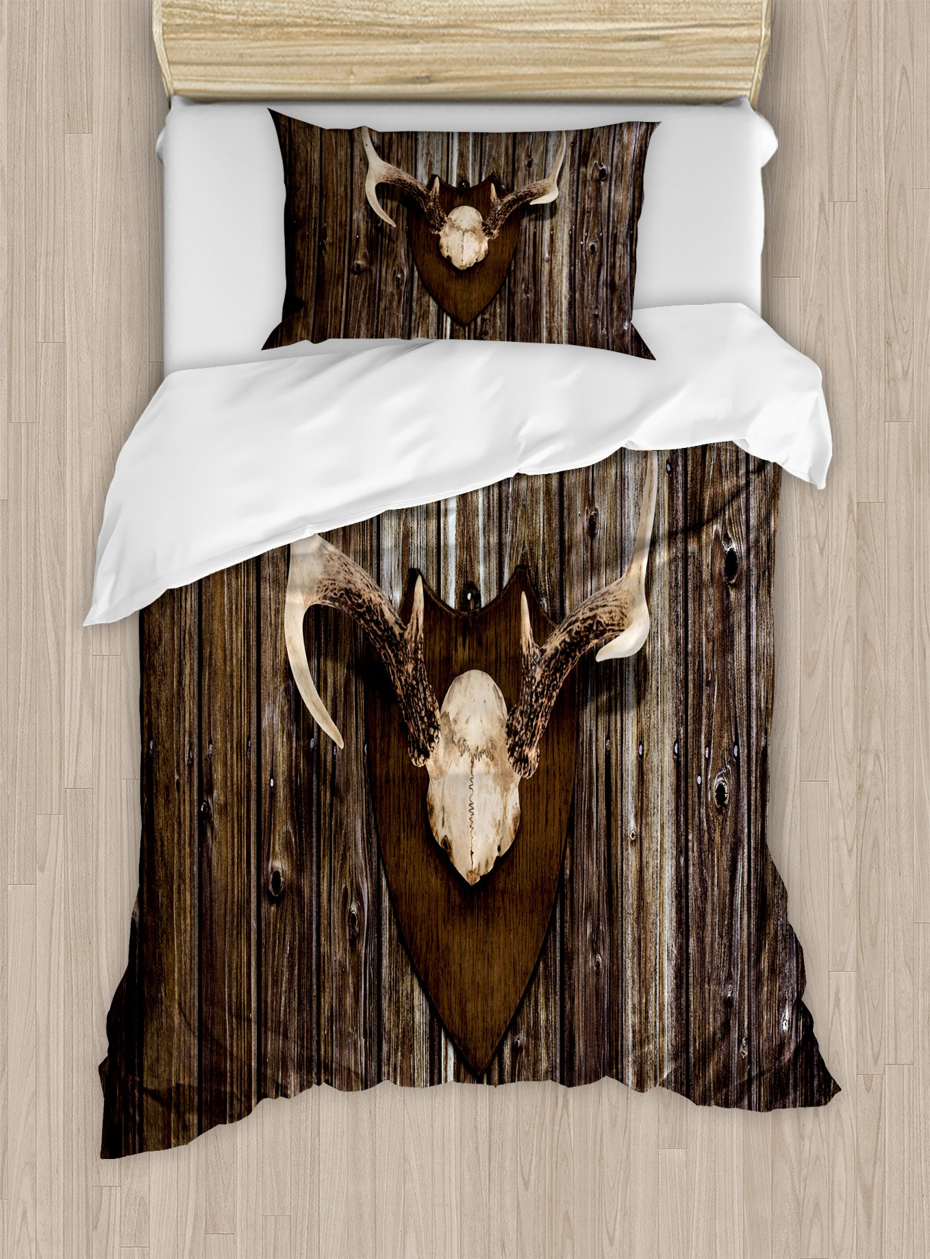 Ambesonne Antler Duvet Cover Set Twin Size, Rustic Home Cottage Cabin Wall with Antlers Hunting Lodge Country House Trophy Print, Decorative 2 Piece Bedding Set with 1 Pillow Sham, Brown