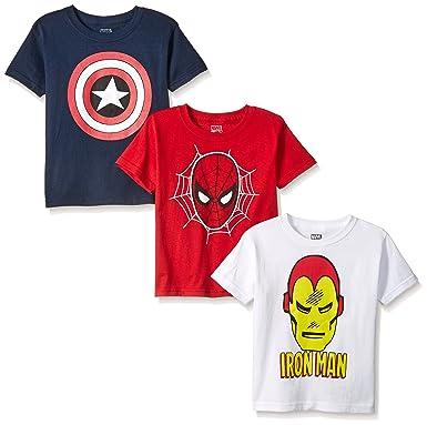 5e3de8c9 Amazon.com: Marvel Boys' Spider Iron Man, Captain America Logo 3 ...