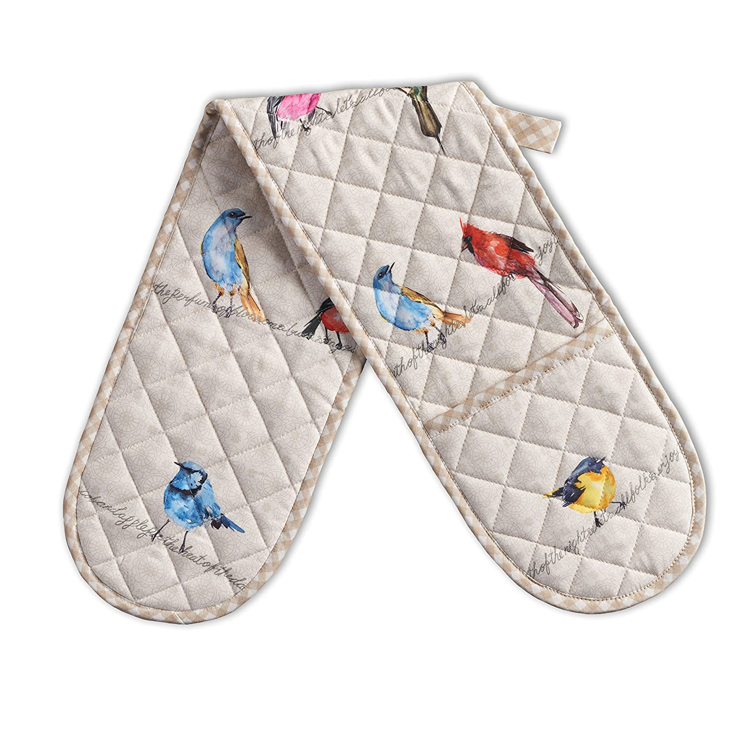 Maison d' Hermine Birdies On Wire 100% Cotton Double Oven Glove/Mitt 7.5 Inch by 35 Inch