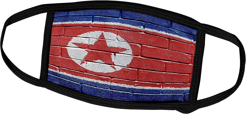 3dRose Carsten Reisinger Illustrations - National Flag of North Korea Painted onto a Brick Wall Korean - Face Masks (fm_155180_3)