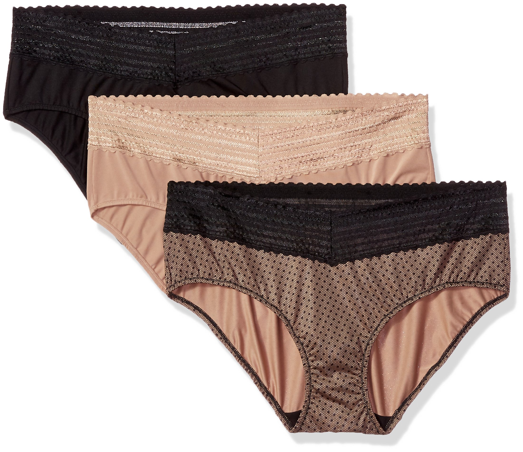 Warner's Women's Blissful Benefits No Muffin Top 3 Pack Lace Hipster Panties, Black/Toasted Almond dot Print, M