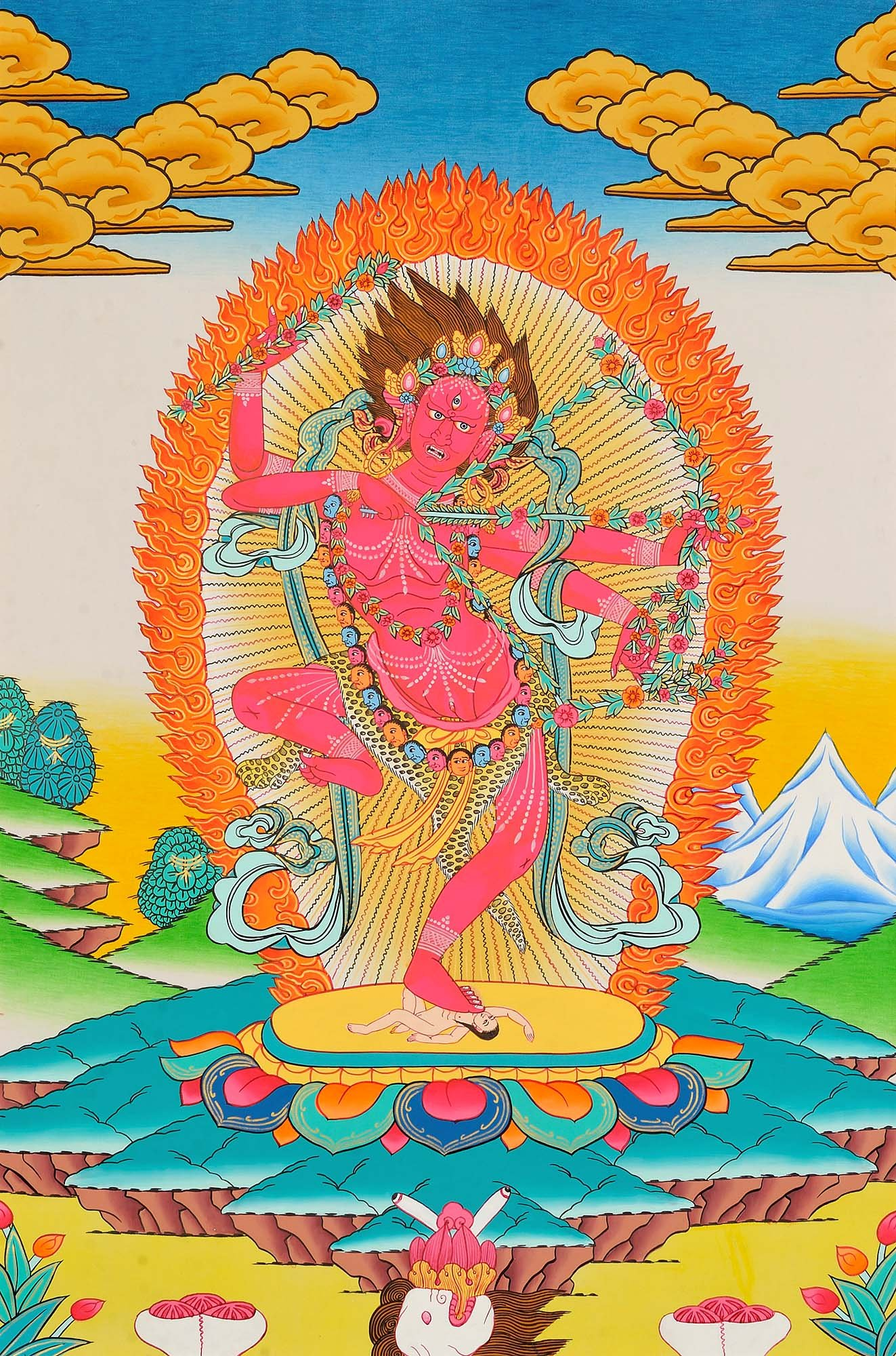 Tibetan Buddhist Goddess Kurukulla: The Red Tara - Tibetan Thangka Painting