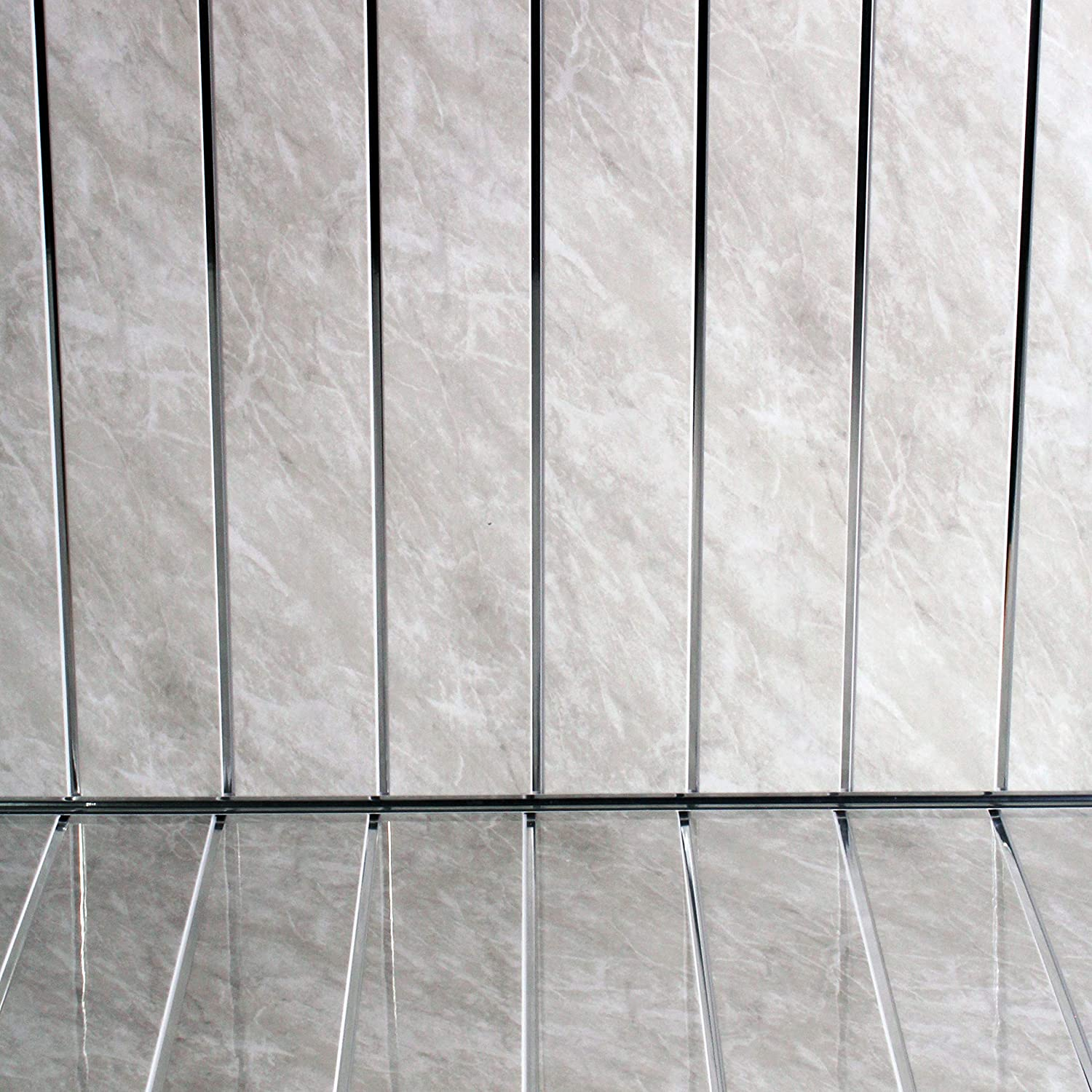 60 Platinum Grey Marble Silver Bathroom PVC Cladding Plastic Shower Wall Panels 8MM