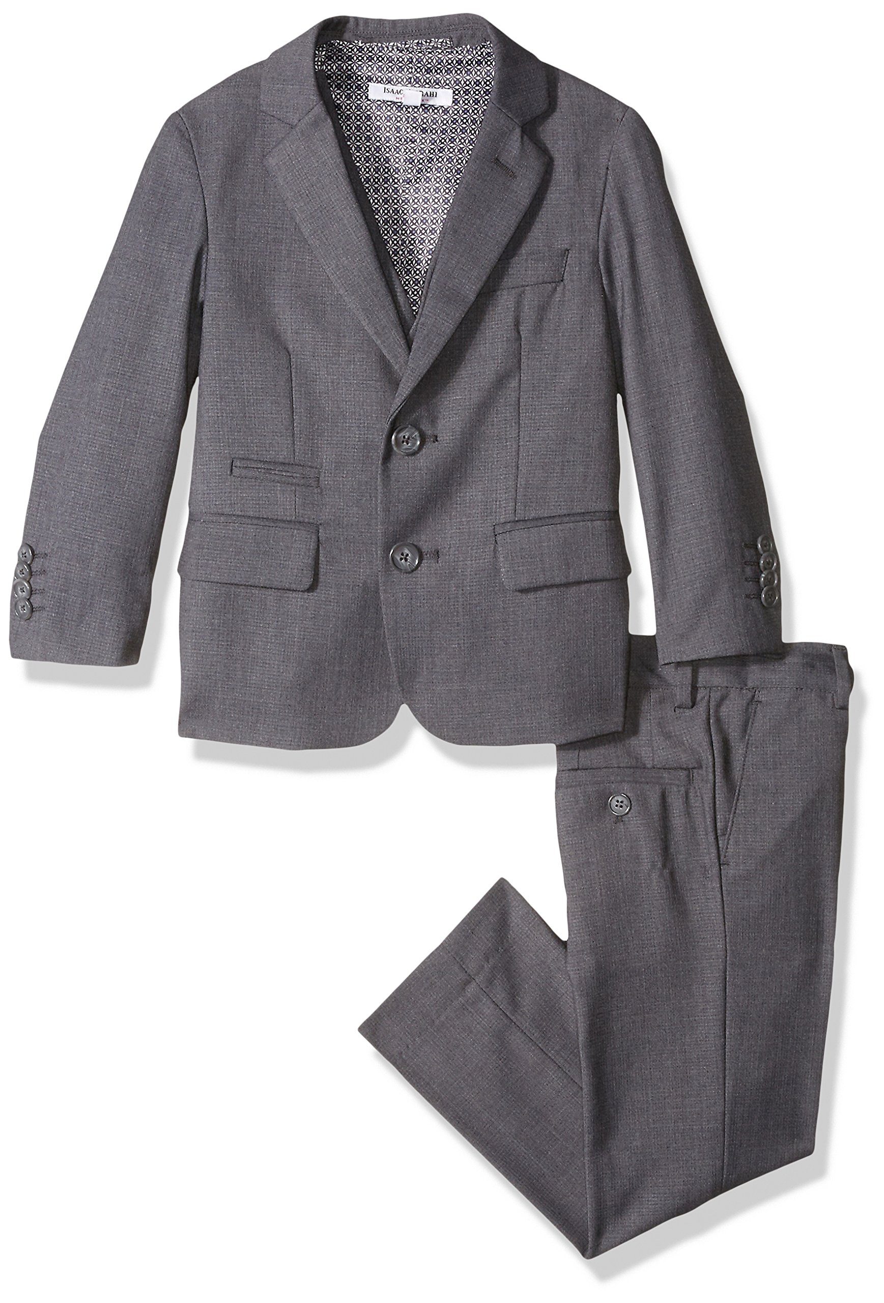 Isaac Mizrahi Big Boys' Textured 3pc Solid Suit, Charcoal, 18