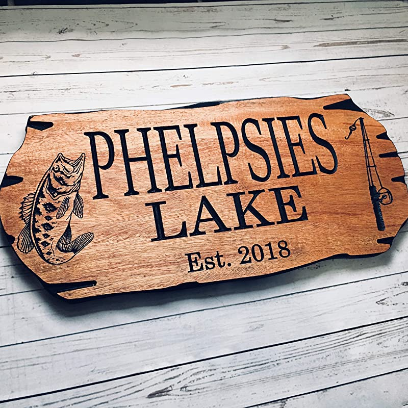 Personalized outdoor carved signs painted black with carving shown in natural pine with Clipart