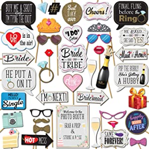 Bridal Shower and Bachelorette Party Wedding Photo Booth Props 41 Pieces with Wooden Sticks and Strike a Pose Sign by Outside The Booth