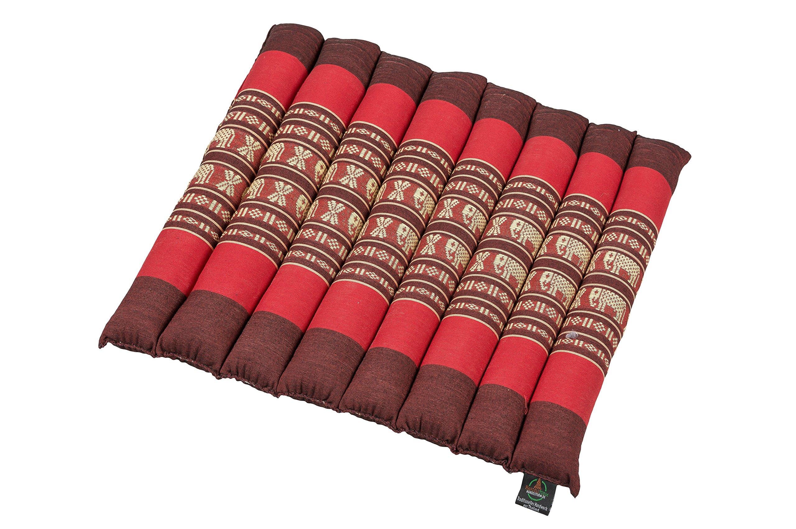 Kapok Dreams Seat Cushion 15''x16'', Firm Durable, Multicolor Chair Pad Red Elephant Thai Design, 100% Natural Kapok Filling!