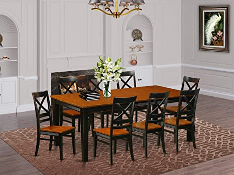 Amazon Com 9 Pc Dining Room Set Dining Table And 8 Dining Chairs Furniture Decor