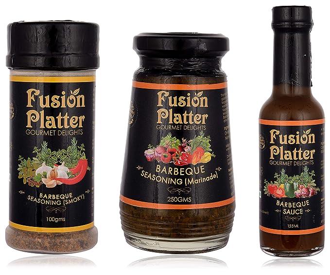 Fusion PlatterBarbeque Sauce, Barbeque Seasoning (Marinade) and Barbeque Seasoning (Smoky) (Combo of 3)