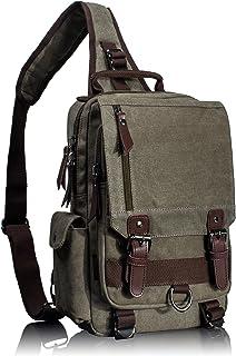 Leaper Canvas One Strap Sling Cross Body Messenger Bag Shoulder Backpack Travel Rucksack Large Black